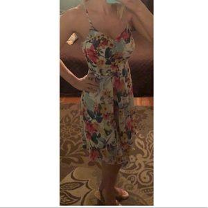Floral asymmetrical hem Venus strap dress